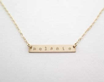 Custom Stamped Name Gold Fill Bar Necklace - Hand Stamped Jewelry by Betsy Farmer Designs