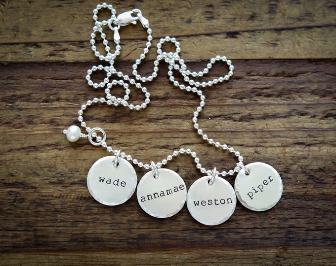 Four Names Hand Stamped Jewelry Personalized Sterling Silver Necklace by Betsy Farmer Designs