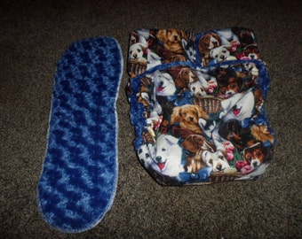 Adult Cloth Diaper, AIO Fitted Incontinent ,  Beautiful Dog Print, Insert, Included Minky Flurry Lining,Buy Four Get One Free