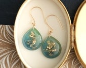 teal and blue drop earrings with gold leaf and gold glitter on 14 karat gold earwires - LAST ONE
