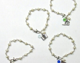 Your Daughter's/Grand-daughter's Pearls Perfect for Flower Girl ~ Sterling Silver, White Pearls, Charms, Swarovski Crystals Artisan Bracelet