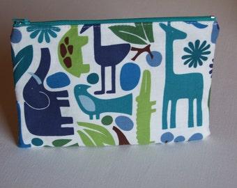 Zipper Pouch, Wild Animals, Organizer, Kids, Travel, Spring Gift, Pencil Case, for Boys, Elephant, Giraffe, Crocodile, Tiger, Zoo Animals