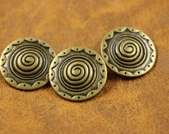 Metal Buttons - Spiral Metal Buttons , Antique Brass Color , Shank , 0.91 inch , 10 pcs