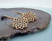 Chakra Earrings, Yoga Earrings, Yoga Jewelry, Bronze Drop Earrings, Flower Earrings, Dangle Earrings