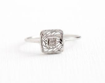 Sale - Antique Art Deco 10k White Gold Stick Pin Conversion Diamond Ring - Size 10 Vintage 1920s Square Filigree Fine Jewelry