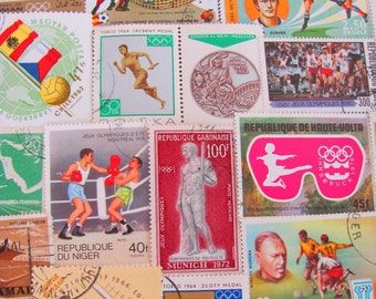 Get In Shape Girl 50 Vintage Postage Stamps World Cup Sports Winter Olympics Exercise Fitness Work Out Soccer Athletic Gym Physical Trainer