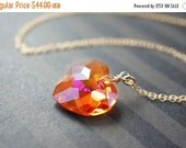 14OFFSALE Necklace, Heart Necklace, Crystal Necklace, Pink Necklace, Orange Necklace, Gold Necklace, Swarovski Crystal, Astral Pink, No. NGC