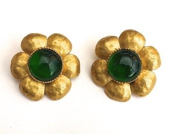 CHANEL Large Rare 1970's Gripoix Flower Earrings