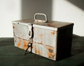 Vintage Industrial Metal Tool Bin with Lid and Latch / Heavy Metal Box / Hand Riveted / Distressed Metal Box / Silver and Orange / Tool Box