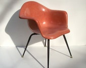 Vintage Chromcraft Fiberglass Shell Chair / Mid Century Modern / Eames Era / Salmon Pink Shrimp Color / Black X Leg / 2 Available