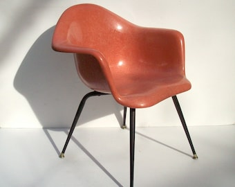 Vintage Chromcraft Fiberglass Shell Chair / Mid Century Modern / Eames Era / Salmon Pink Shrimp Color / Black X Leg / 2 Available
