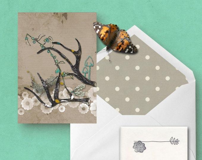 Deer Antler Greeting Card