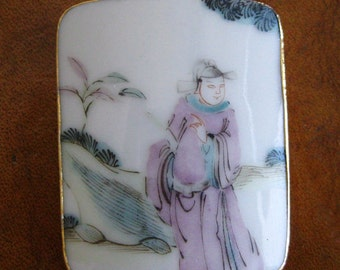 Vintage Chinese Scholar Porcelain Vase Shard Panel Necklace Pendant