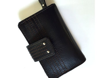 Vintage Black Leather Wallet Clutch with Photo ID Change Purse and 15 Credit Card Slots