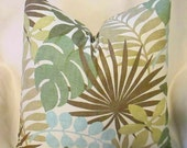 SALE  NEW WAVERLY Set  of Two Designer Throw Pillow Covers 20 x 20  Seafoam Tropics Both Sides
