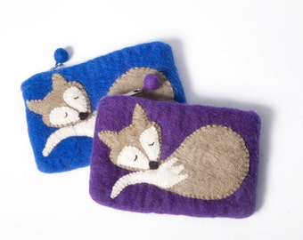 Sleeping Fox Felt Coin Purse