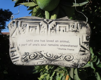 Anatole France Inspirational Quote Ceramic Plaque - Graphite