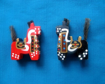 SALE - Wooden Hachinohe Horses Hand painted whimsical colorful fun