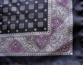 Vintage Pocket Square suit violet black silk