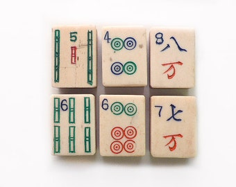 Mah Jong Tiles in Bone and Dovetail Bamboo