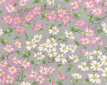 Dogwood Trails 2 Grey Floral Moda Quilt Fabric by the 1/2 yard #31-13