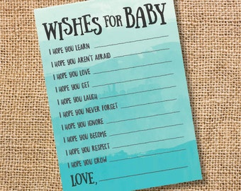 Wishes for Baby Teal Ombre Printable Baby Shower Baby Boy Twins Gender Neutral Turquoise Watercolor Baby Wishes Advice Card INSTANT DOWLOAD