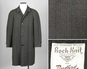 vintage 1950s mens coat • ROCK KNIT wool with subtle plaid • size 45