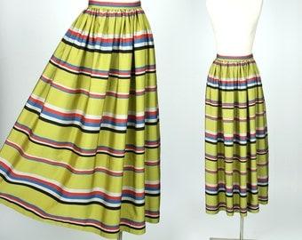 vintage silk skirt • vibrant 1940s chartreuse striped silk full length skirt