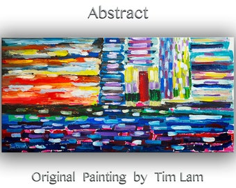 """Original Abstract Painting Wall Art Oil Painting 48"""" Canvas  Wall Decor Original Modern Home Deco, Wall Hanging, Gathering Force by Tim Lam"""