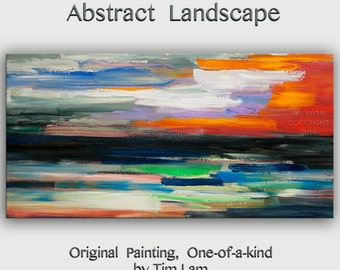 """Huge Art painting original Modern abstract painting Impasto Texture Acrylic Painting on gallery wrap canvas by Tim Lam 48""""  x 24"""""""