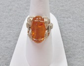 Baltic Amber  and Gold filled Wire Ring
