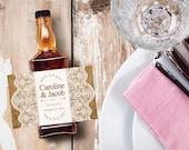 Custom Jack Daniels Mini Bottle Labels Wedding Favors Thank You Rehearsal Dinner Reception Whiskey Burlap Lace Country Custom Favors EB-1068