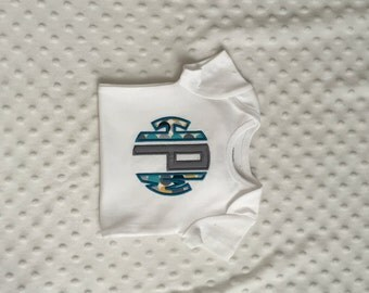 Baby Boy  Personalized Bodysuit , Appliqued Circle Monogram