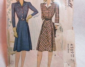 "Antique 1941 McCall Pattern #4509 - size 34"" Bust"
