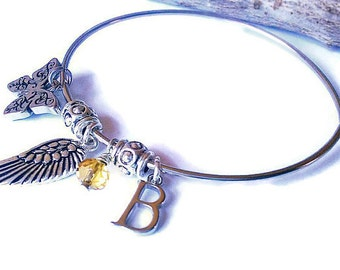 Memorial Keepsake Bangle  Bracelet with Initials and Birthstone Crystal - Angel Wings, Butterfly Charm
