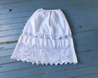 Antique Petticoat Skirt Handmade Lace Small