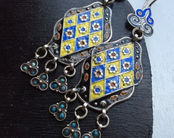 Vintage uzbek earrings silver dangle  asian kuchi nomad pashtun enamel