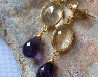 CASCADE EARRINGS 1 sterling gold honey quartz amethyst dangle gem gemstone