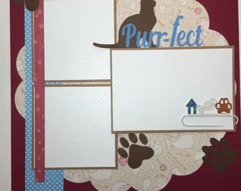 Cat Scrapbook Page Cat Scrapbook Album Premade Cat Scrapbook Page Kitten Scrapbook Pages 12 x 12 Scrapbook Album Pages Kitten Scrapbook