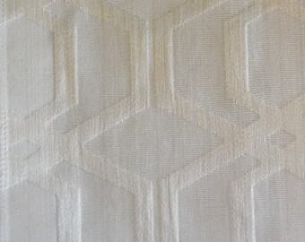 Custom Curtains Valance Roman Shade in Ivory / Cream Shade in Geometric Pattern Fabric