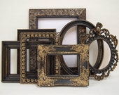 RESERVED LISTING Picture Frame Set Shabby Chic Picture Frames Collage Vintage Picture Frames Oval Frame Black and Gold