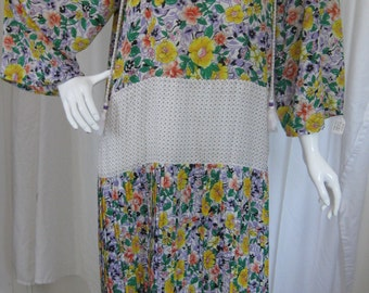 Vintage 1980s Diane Friess Multicolored and Multipatterned Dress, Size M/L or 8-10