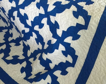 Quilt Drunkard Path Blue and White Queen Ready to Ship