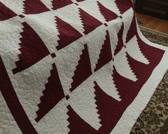 Quilt Deep Red and White Modern Log Cabin Queen Ready to Ship