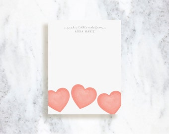 Personalized Note Card Set // Hearts // Stationery Set