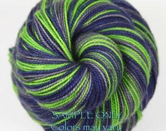 "Dyed to Order: Self-striping Hand-dyed Sock Yarn - ""BLUE - GREEN - GRAY"" - Football yarn - Baseball Basketball- School colors yarn - Seattle"