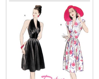 Halter Dress Sleeveless Fit and Flare Dress Marilyn Monroe Style Shaped Midriff Retro Butterick 5209 Sizes 6 -20 Women's Sewing Pattern
