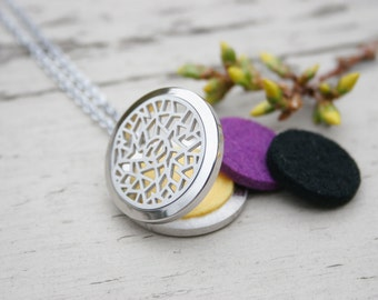 "Essential Oil Diffuser Locket for Diffusing and Aromatherapy, KINDNESS. 316L Stainless Necklace with 20"" Chain and 2 Felt Pads Included"