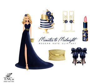 Fashion illustration - Evening gown - Gold glitter clipart - Gold clutch bag - Commercial clipart - Modern clipart - Navy and gold - MK