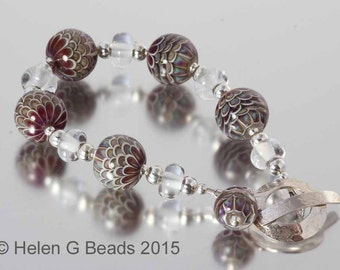 Lampwork bead and Sterling Silver bracelet in brown, red and burgundy by Helen Gorick